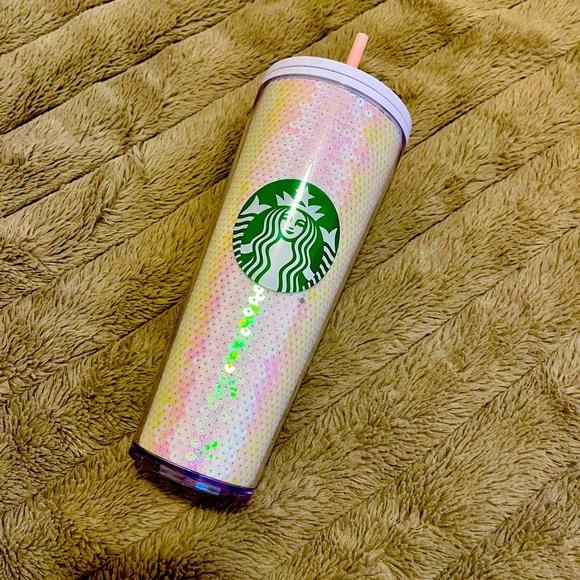 Starbucks iridescent white sequin